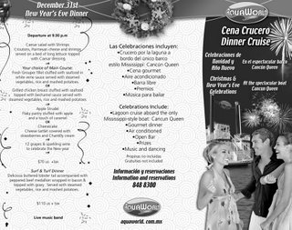 New year dinner cruise at Cancun lagoon
