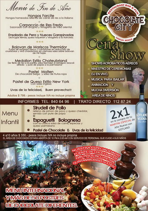 Chocolate city Cancun new year dining party show