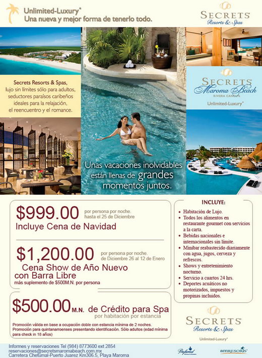 Secrets resorts and Spa Maroma Beach luxury hotel