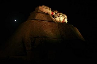 Uxmal light and sound ruins archaelogical mayan site show